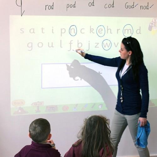 Smart Whiteboard Wallpaper Low Sheen used in classroom